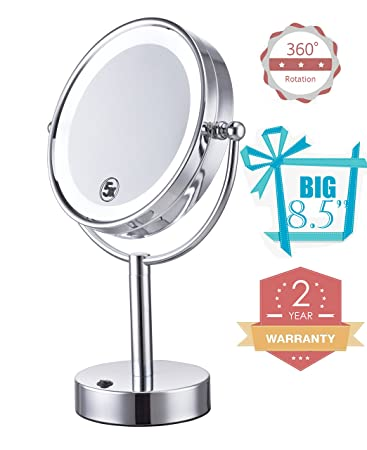 Cerdeco 8.5 Inch Two Sided Tabletop Makeup Mirror 5X Magnifying LED Lighted  Cosmetic Mirror Battery