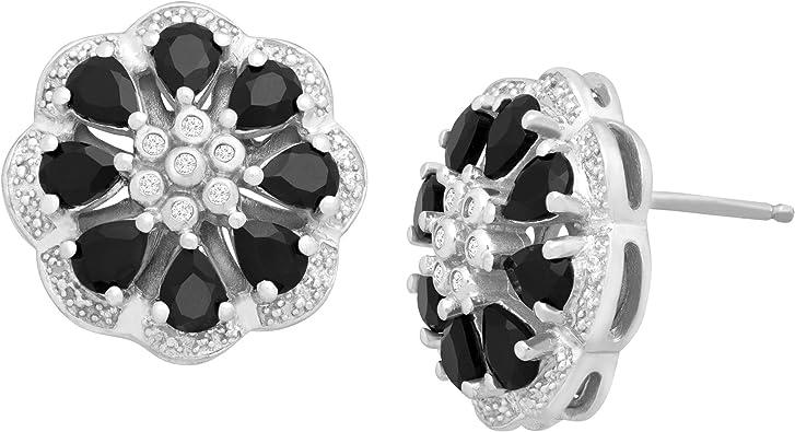 Silver earrings 925 onyx-Dry earrings-natural fine stones
