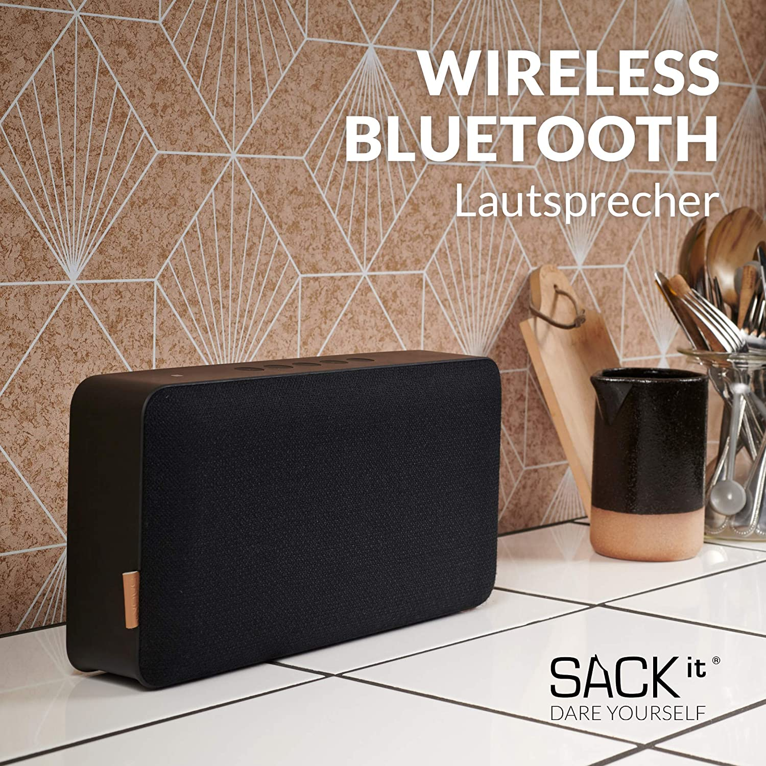 Sackit Moveit X Bluetooth Speaker With Up To 12 Hours Of Run Time And Charging Function Music Box With Interchangeable Design Wireless Speaker For Home And Travel Black
