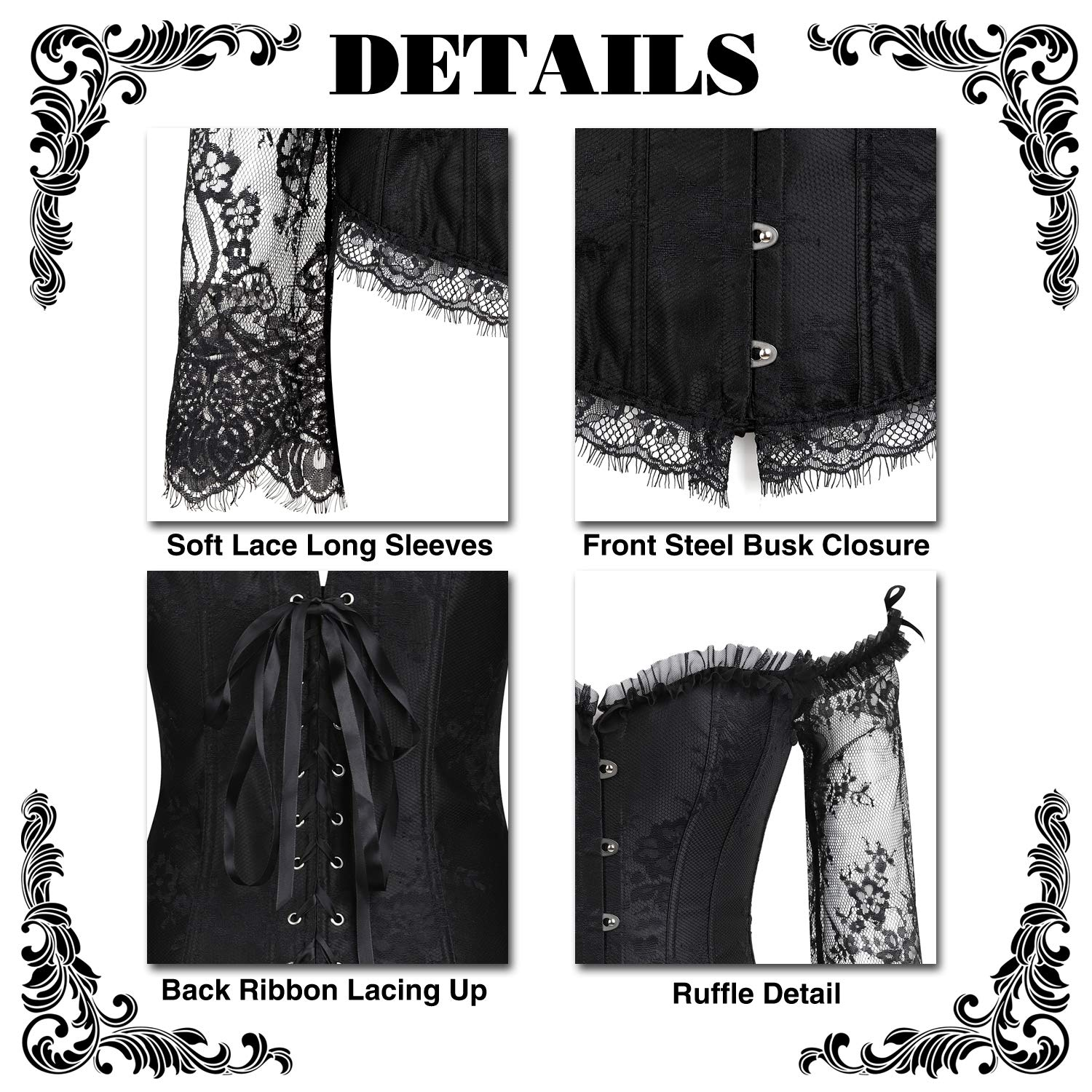 6bd9cd2020 lttcbro Women s Gothic Fashion Off Shoulder Lace Corset Steampunk Clothing  with Long Sleeves at Amazon Women s Clothing store