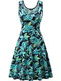 FENSACE Women's Sleeveless Scoop Neck Summer Beach Midi A Line Tank Dress