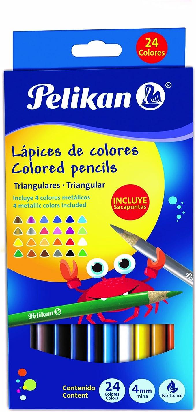 Pelikan 30330304TR - Estuche cartón, 24 lápices triangulares, 17.5 cm, multicolor: Amazon.es: Oficina y papelería