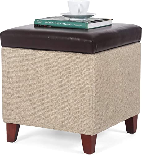 Homebeez Storage Ottoman Stool Foot Rest Small Square Footstool Brown/Tan