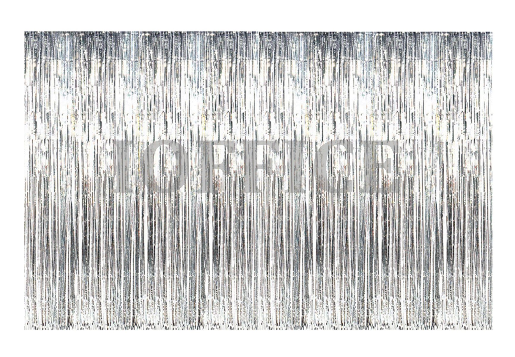 IOFFICE 12' X 8' (144'' X 96'') Metallic Silver Foil Fringe Curtains Door Window Curtain Party Decoration (12' x 8', Silver)