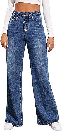 Women/'s Jeans Bottom Trousers Casual High Waist Stretch Denim Wide Leg Pants