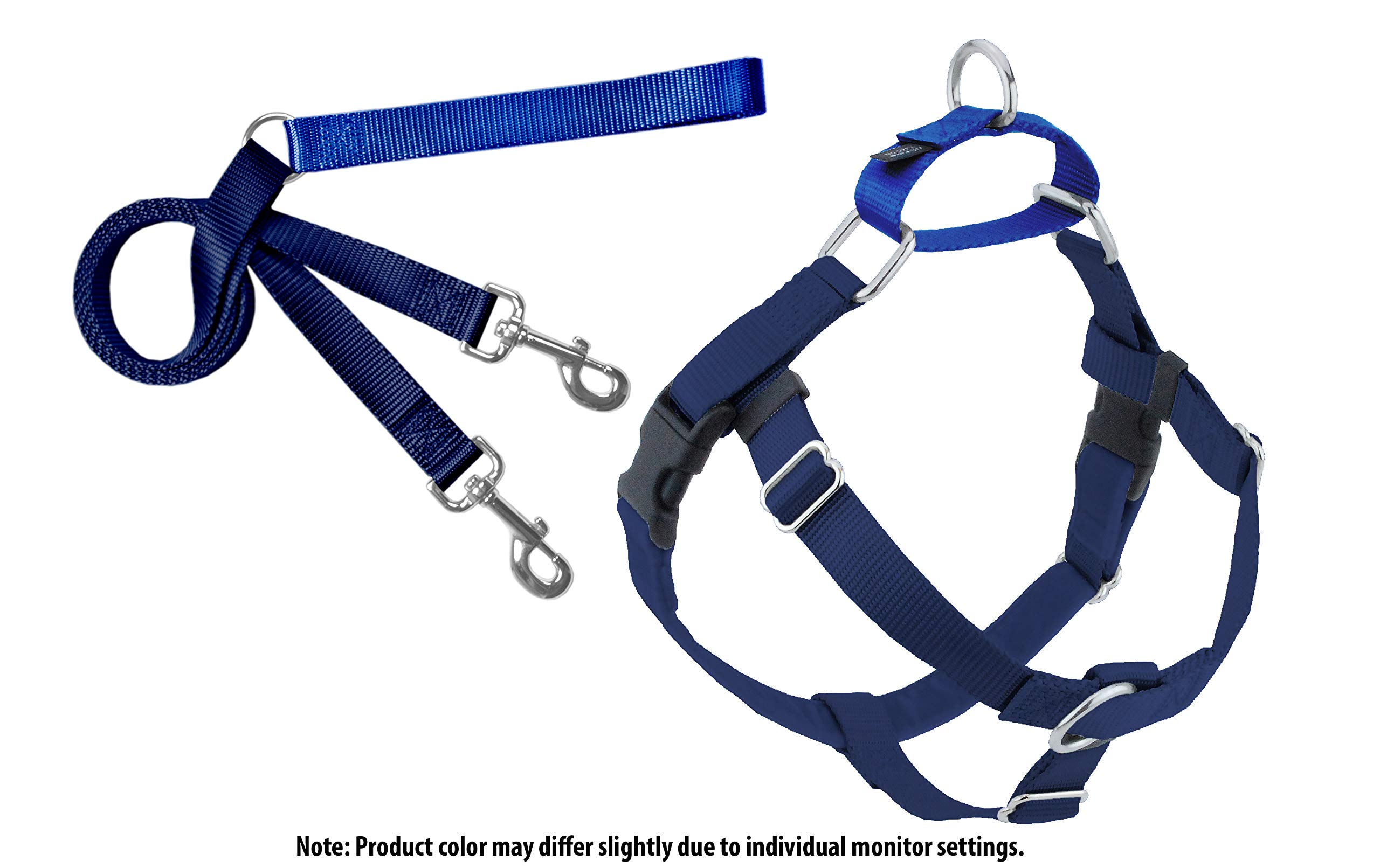 2 Hounds Design Freedom No Pull Harness and Leash Training Kit Navy Lg