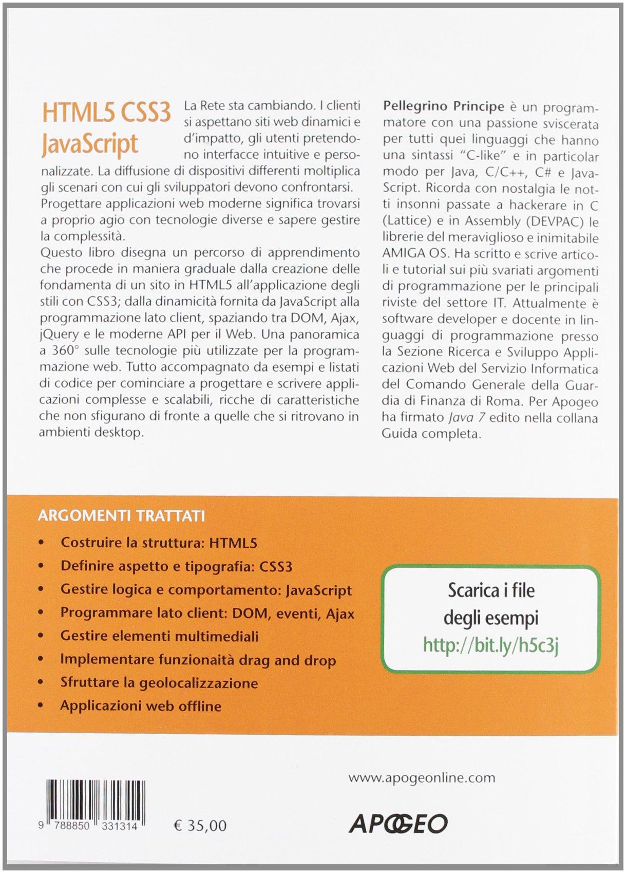 html5 css3 javascript pellegrino principe