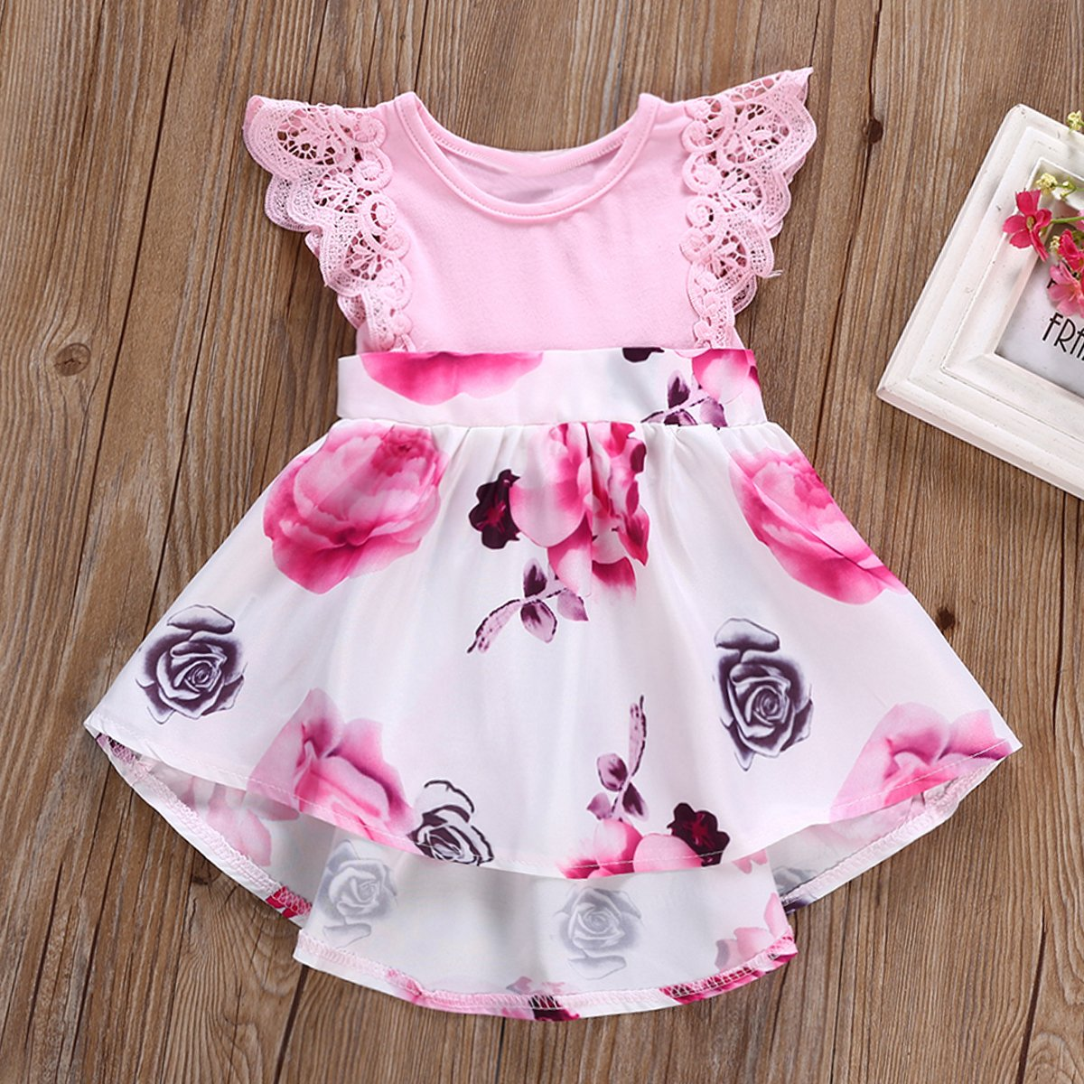 Newborn Baby Girl Pink Flower Print Floral Hollow Flounce Sleeve Lace Midi Skirt Suit
