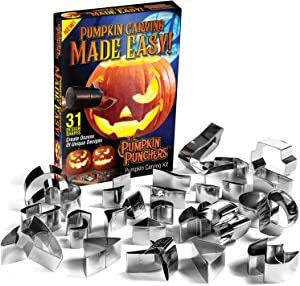 Pumpkin Punches Carving Kit - Carving Tool Kit - Safe for Children - Family Favorite - Safe for Kids - 31 mix and match pieces - No Knives Needed - Halloween Fun for Everyone - Easy Jack-O-Lantern