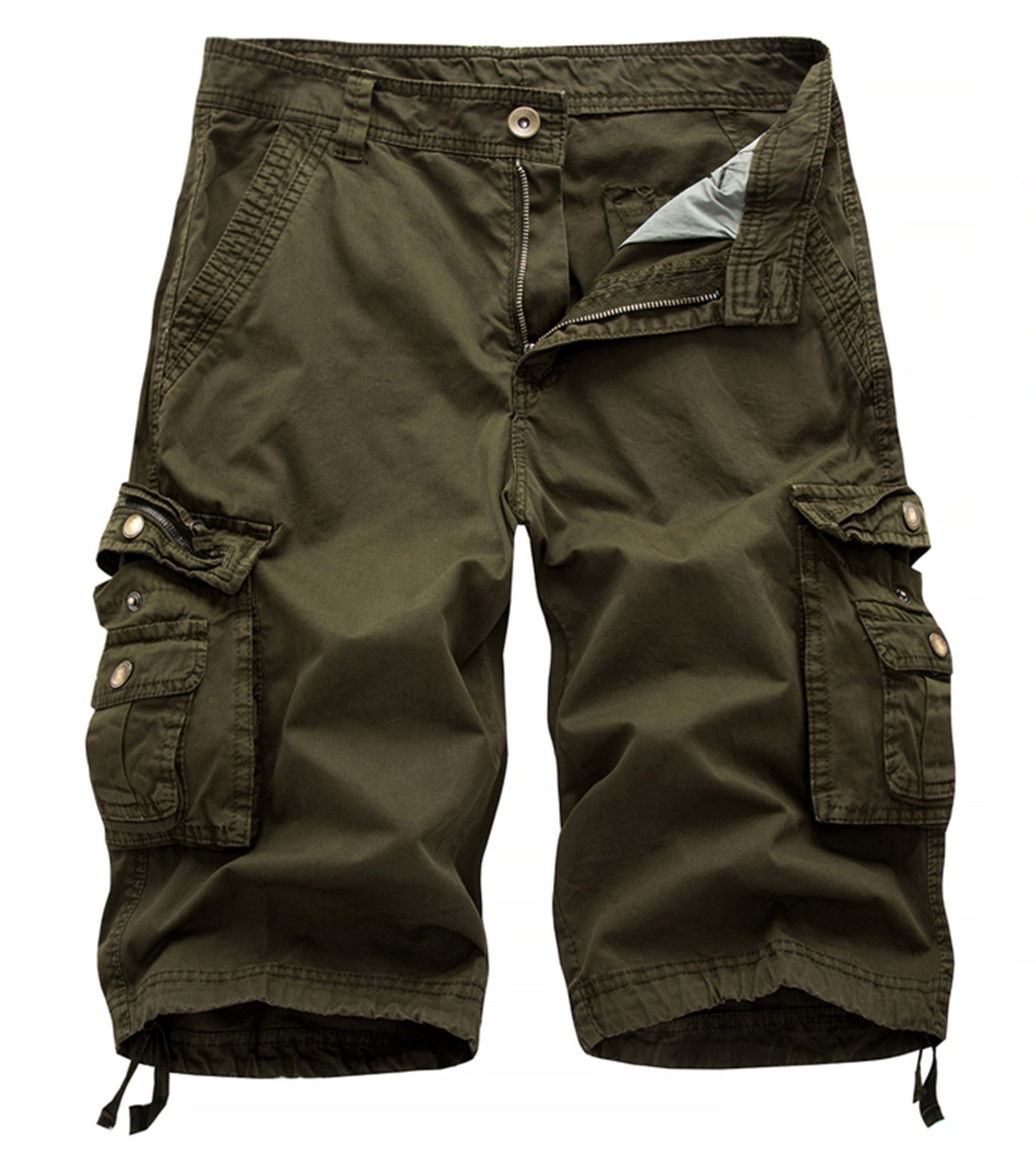 AOYOG Mens Solid MultiPocket Cargo Shorts Casual Slim Fit Cotton Solid Camo Shorts, Army Green 082, Lable size 40(US 38)