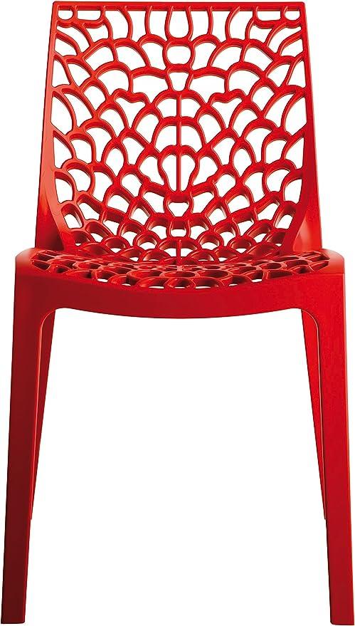 Verone Mobili Lote de 2 Sillas Mod. Gaudi- Color Rojo para Exterior Tanto para terraza y Jardin realizada en Polipropileno: Amazon.es: Hogar