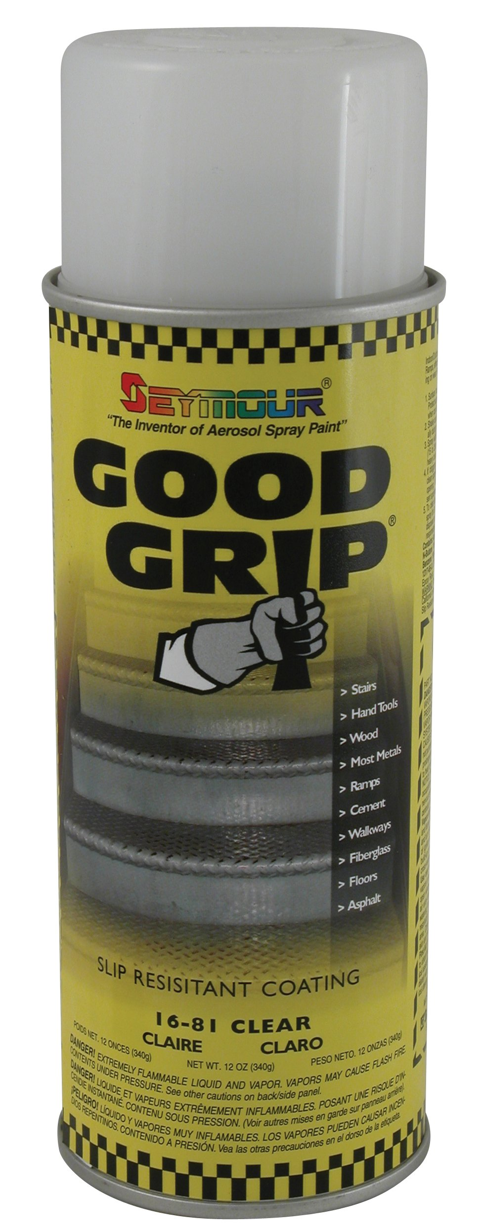 Seymour 16-081 Good Grip Slip Resistant Coating Spray, Clear