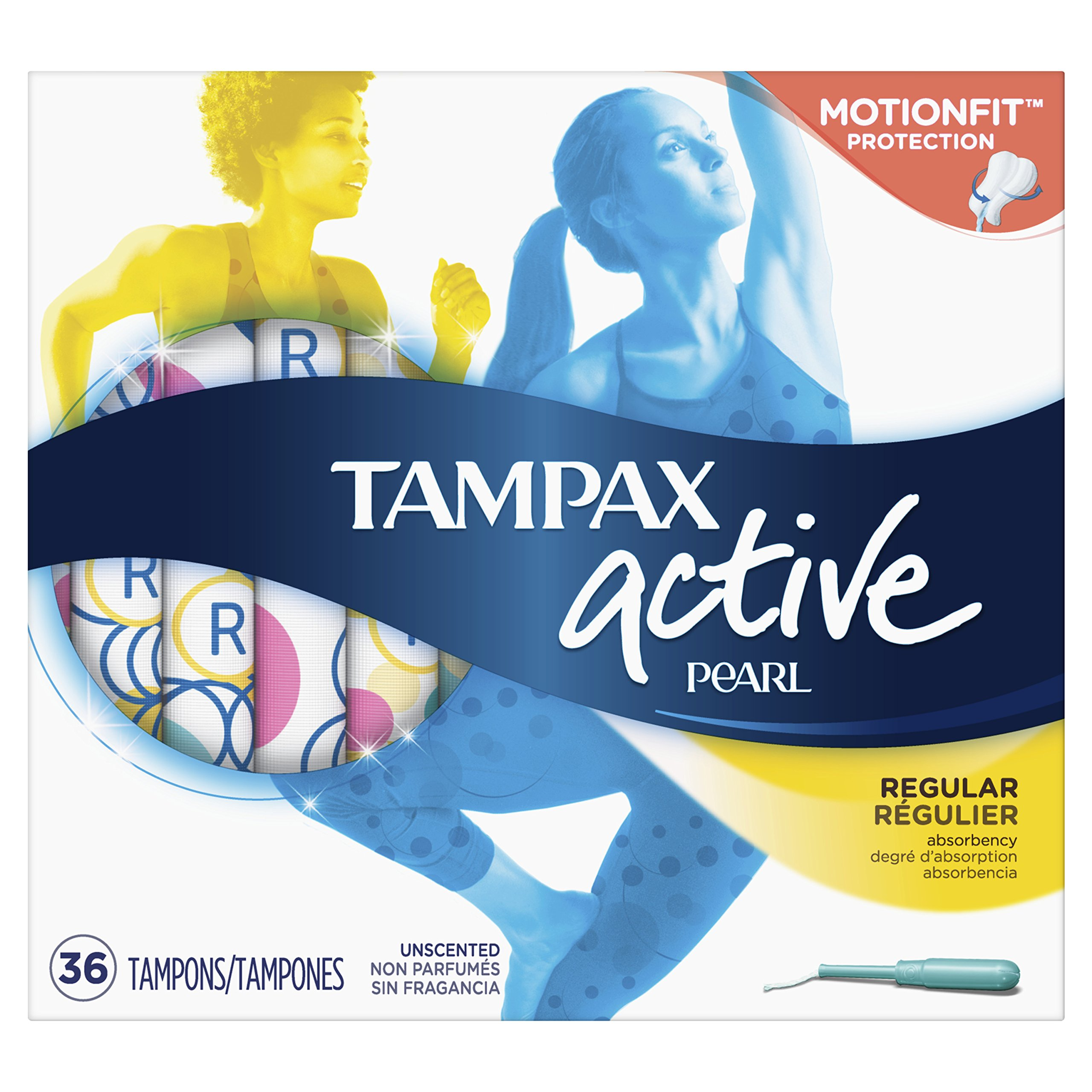 Tampax Pearl Active Tampons with Plastic Applicator, Regular Absorbency, Unscented, 36 Count - Pack of 6 (216 Count Total) (Packaging May Vary) by Tampax