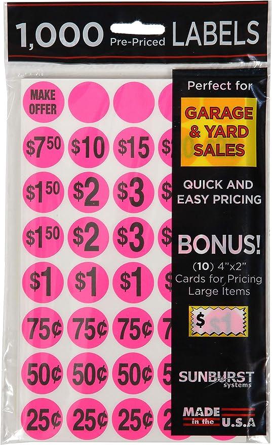 Details about  /360 Neon Yard Garage Rummage Sale Price Tag Sticker Labels-Prepriced /& Blank