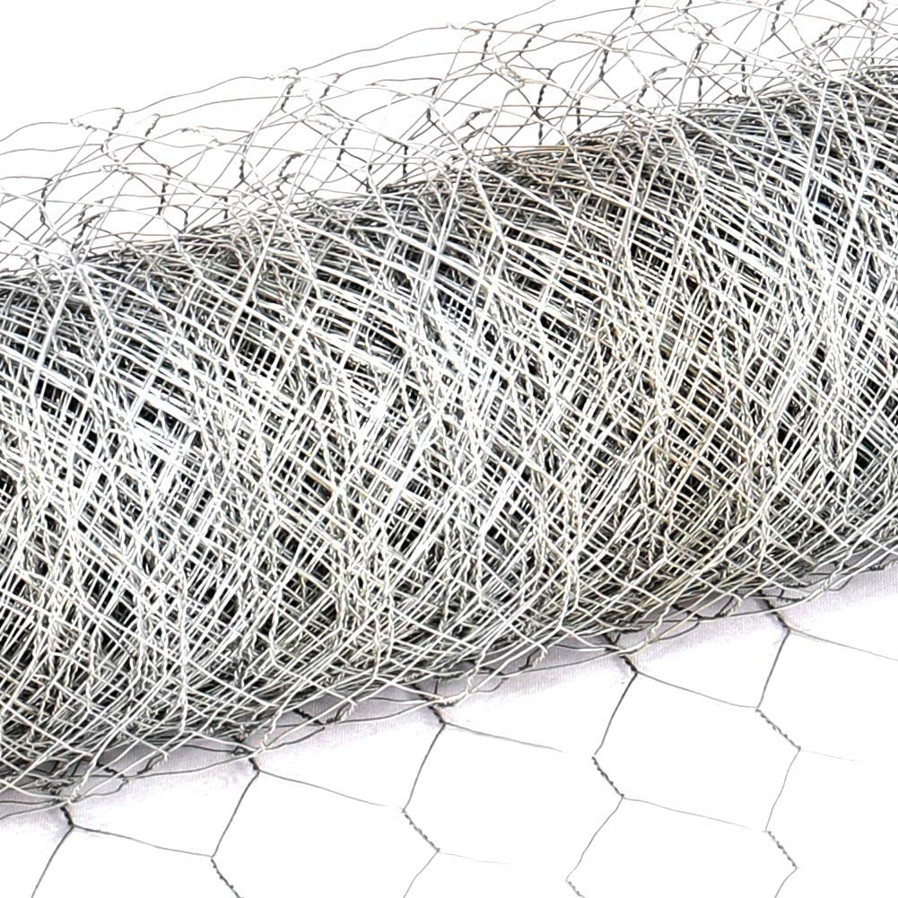 INMOZATA Chicken Wire Mesh Fencing Rolls Netting Galvanized Steel for Aviary Fence Garden Outdoor 0.6mx25m 50 x 50mm, 0.72mm Galvanized