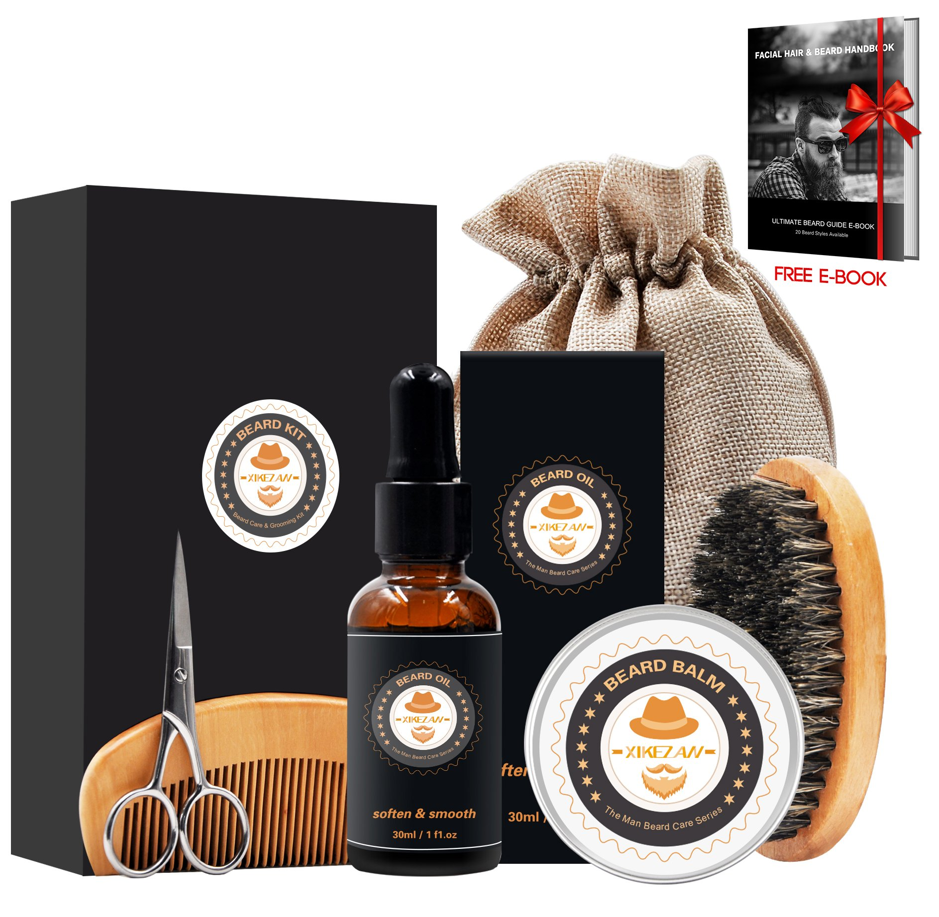 XIKEZAN Mens gifts for Men Beard Care Grooming & Trimming Kit Unscented Beard Conditioner Oil + Mustache & Beard Comb+Balm Wax+Brush+Mustache Scissors Trimmer for Styling Shaping & Growth