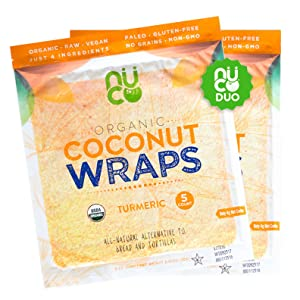 NUCO Certified Organic, SHELF STABLE, Paleo, Gluten Free, Vegan Non-GMO, Kosher Raw Veggie Coconut Wraps Turmeric Flavor. NO Salt Added Low Carb and Yeast Free 10 Count (Two Packs of Five Wraps Each)