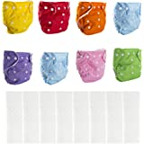 BIG ELEPHANT Paquete de 8 pañales Reutilizables de Bolsillo de Tela Color sólido pañales de Bolsillo