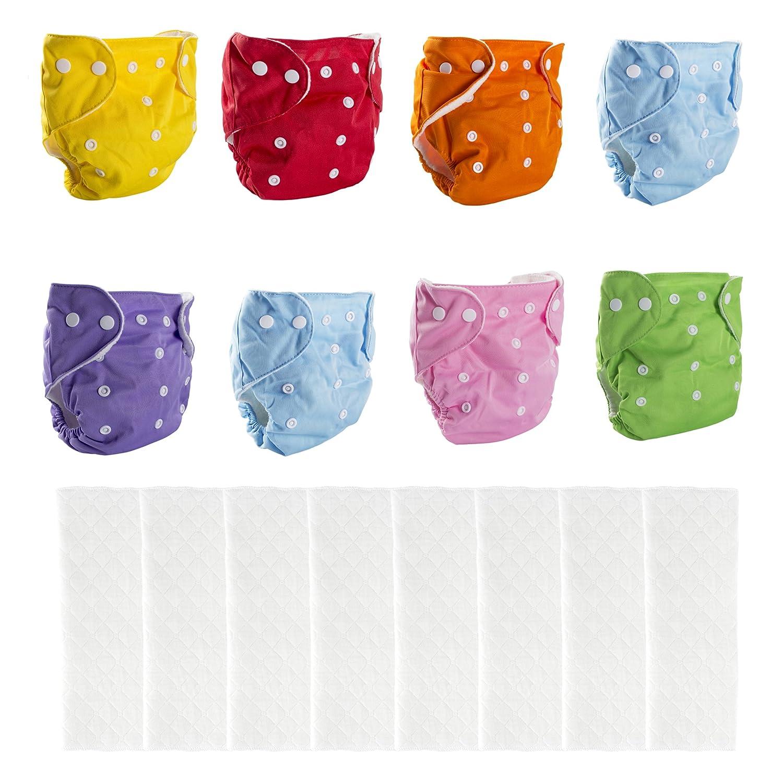 BIG ELEPHANT Paquete de 8 pañales Reutilizables de Bolsillo de Tela Color sólido pañales de Bolsillo con 8 Insertos de Microfibra PD-04
