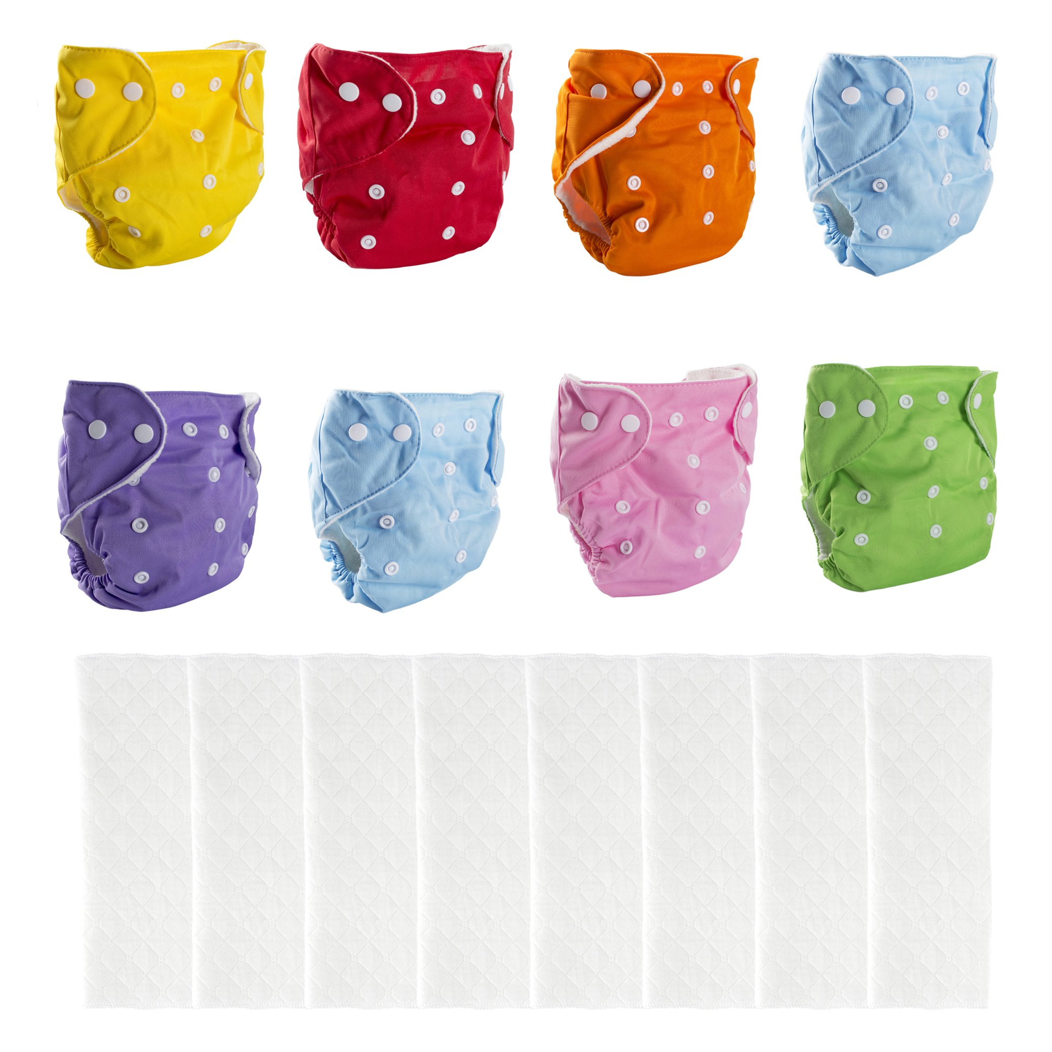 Big Elephant 8 Pack Baby Solid Color Reusable Cloth Pocket Diapers with 8 Microfiber Inserts PD-04