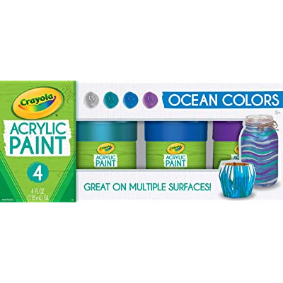 Crayola Paint Set in Ocean Colors, Multi-Surface Craft Paints, Painting Supplies, Stocking Stuffers, 4ct: Toys & Games [5Bkhe0311097]