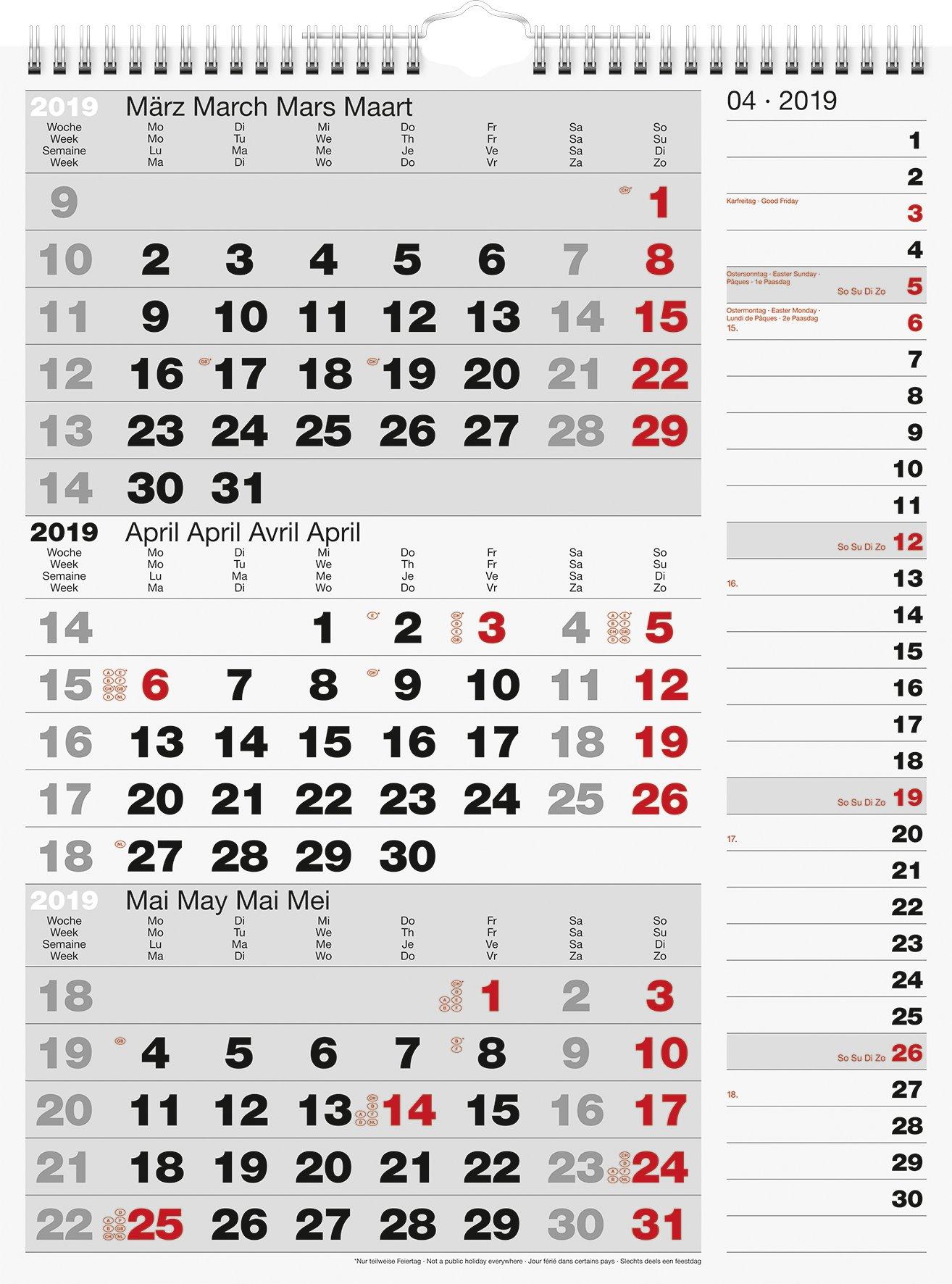 rido/idé 7033330 Wandkalender/Drei-Monats-Kalender Kombi-Planer 3, 1 Blatt = 3 Monate, 300 x 390 mm, Kalendarium  2019, Wire-O-Bindung mit Aufhänger mit rechtsbündigem Streifenkalender