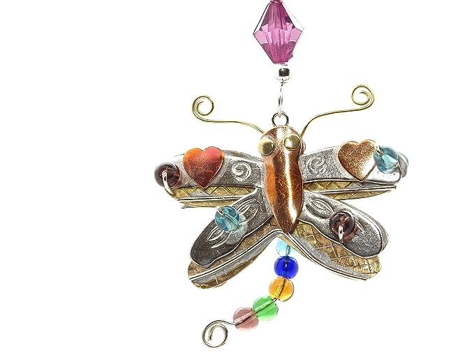 Hecho a mano colgante de coche adorno para colgar de bronce de níquel y cobre en caja regalo), diseño de libélula: Amazon.es: Hogar