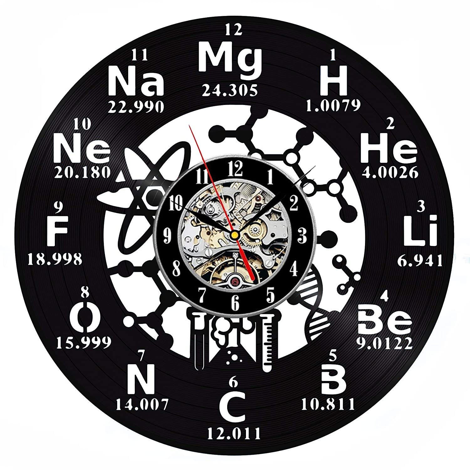 Chemistry Molecule Biochemistry Vinyl Wall Clock 12 in 30cm Black Decor Modern Decorative Vinyl Record Wall Clock This Clock is A Unique Gift to Your Friends and Family for Any Occasion