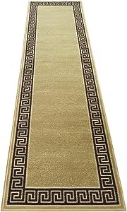 Meander Design Printed Slip Resistant Rubber Back Latex Runner Rug Color Options Available (Beige, 23