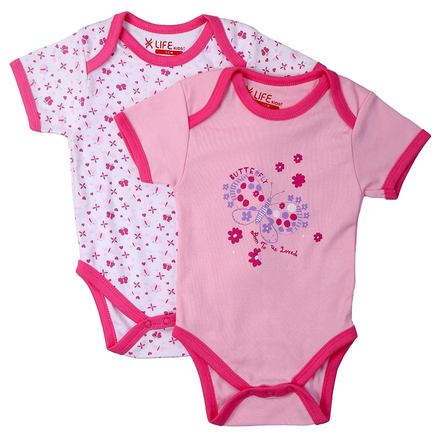 6f1699750 NeedyBee Pink   White 100% Organic Cotton Designer Onesie for ...