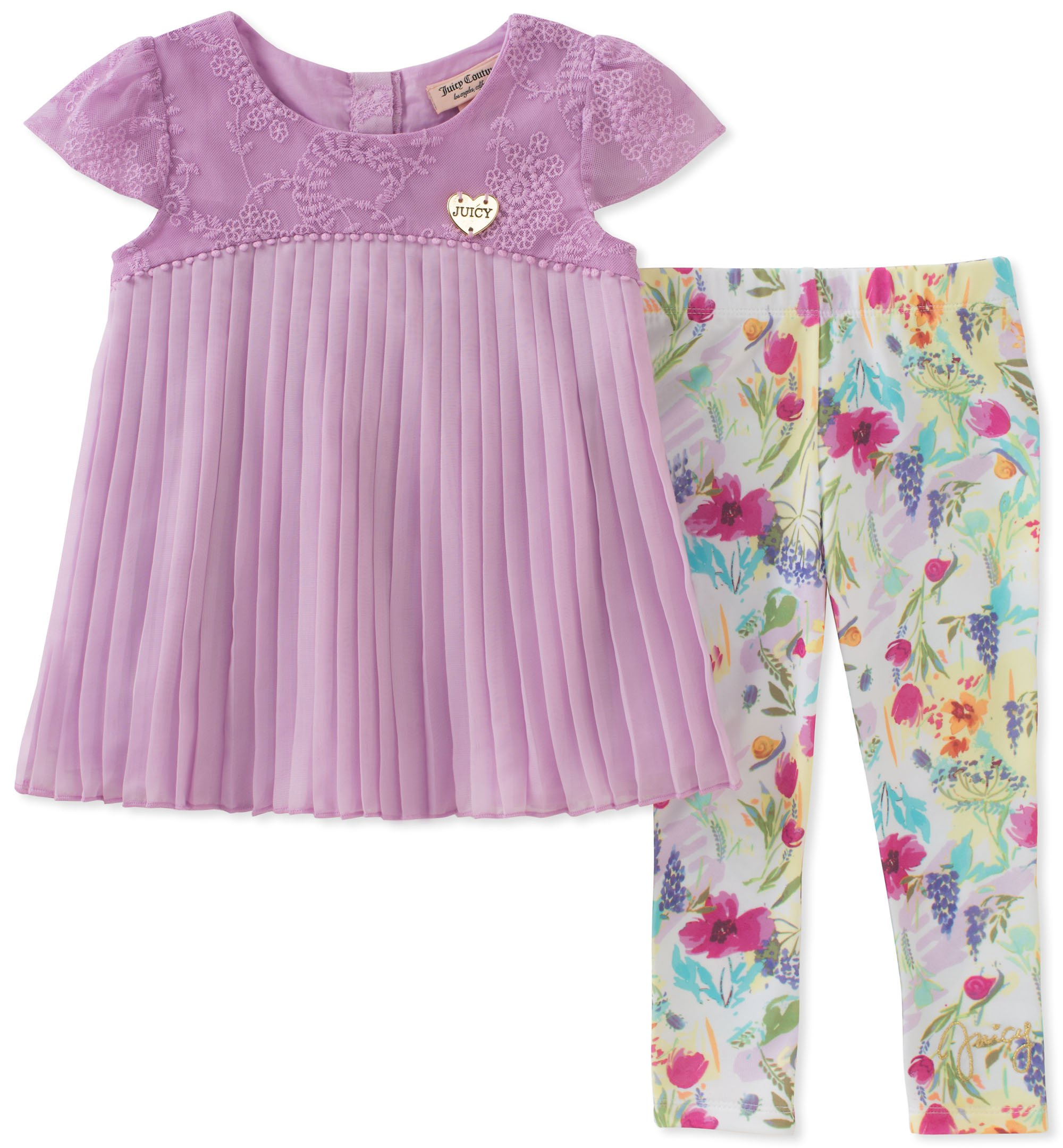 Juicy Couture Baby Girls 2 Pieces Tunic Set, Lilac/Print, 18M