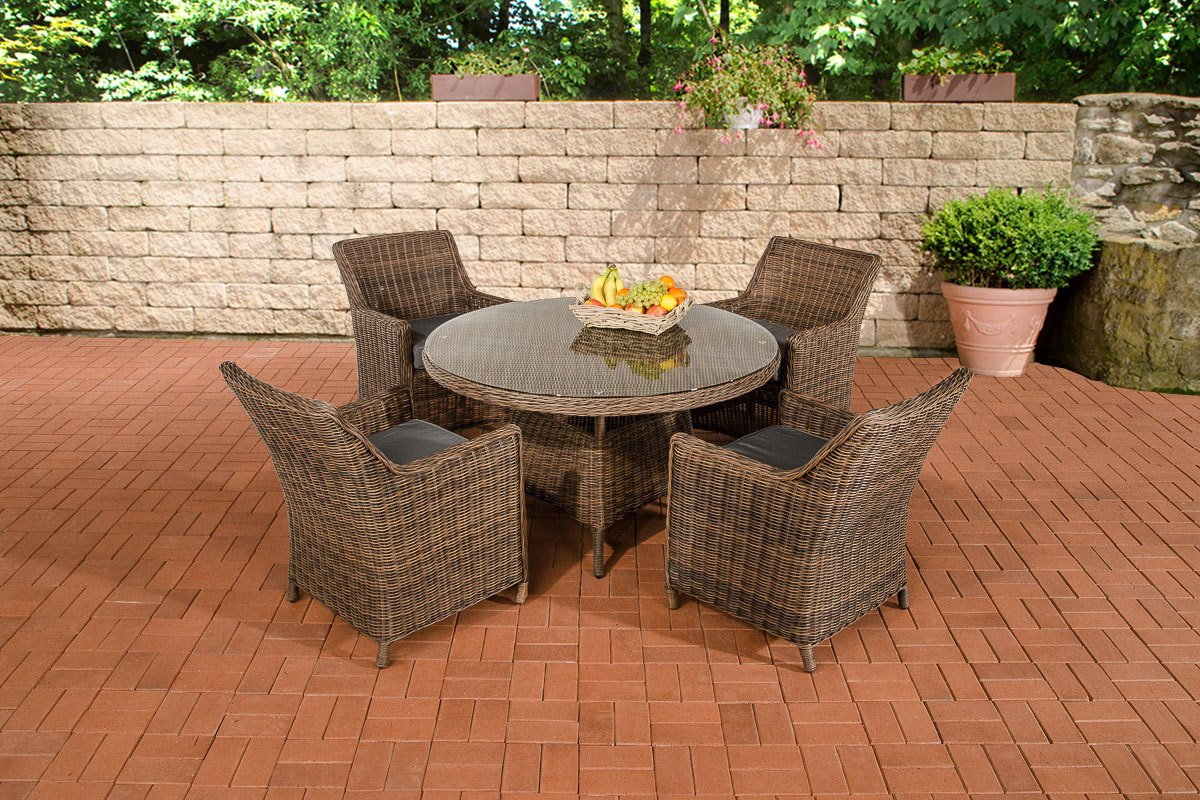 CLP Polyrattan Sitzgruppe BOVINO braun-meliert, rundes 5 mm Rattan, Aluminium Gestell (4 x Sessel Sandnes + runder Tisch Ø 130 cm + 10 cm dicke Sitzkissen) braun-meliert, Bezugfarbe eisengrau