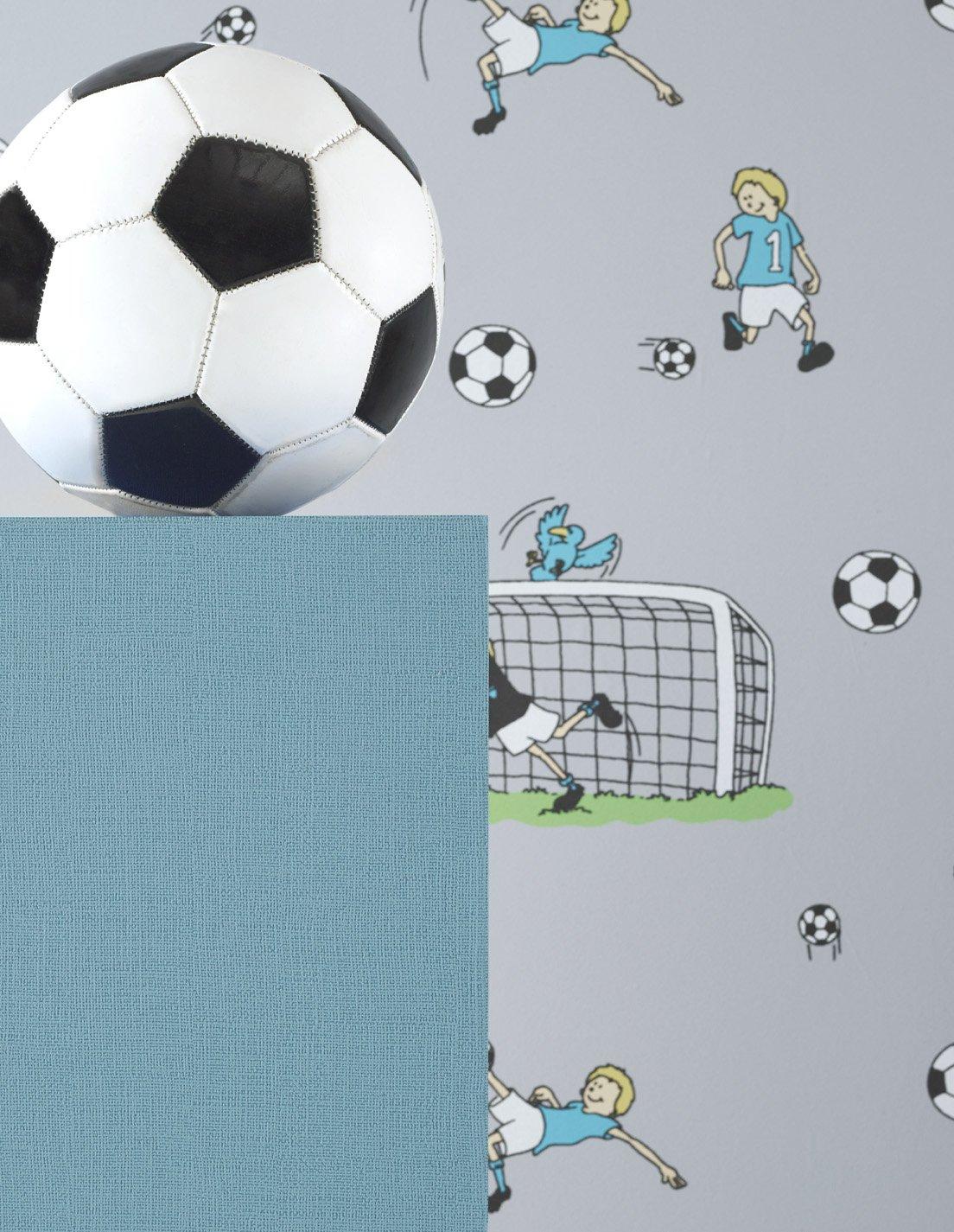 Schön Vlies Tapete Fußball Kinder Jungen Zimmer Fussball Tapete Grau Türkis Grün:  Amazon.de: Baumarkt