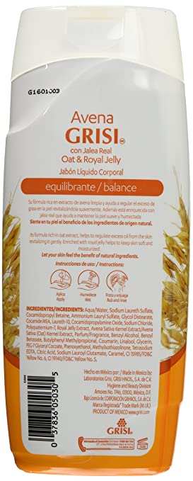 Amazon.com: Avena Grisi Con Jalea Real Oat & Royal Jelly Shower Gel/jabon Corporal Balance 450ml: Health & Personal Care
