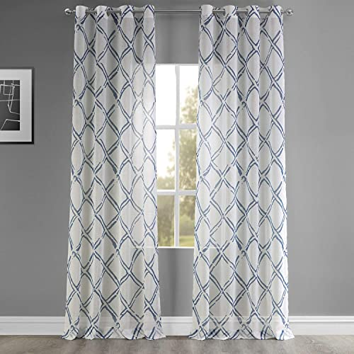 Editors' Choice: HPD Half Price Drapes SHCH-PS16072A-84-GR Grommet Faux Linen Printed Sheer Curtain 1 Panel