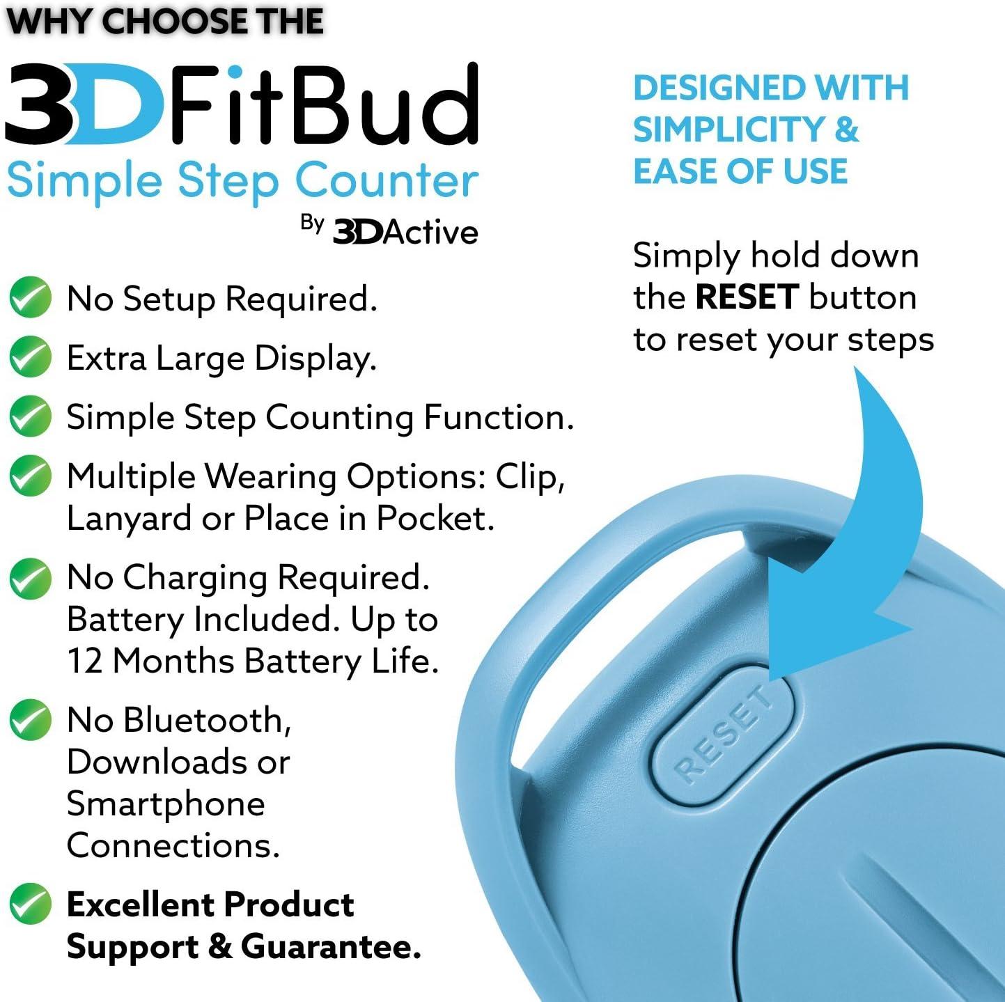 A 3DFitBud Simple Schrittzähler Zum Gehen 3D Pedometer mit Clip und Umhängeband
