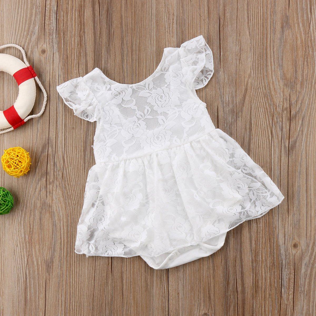 Imcute Newborn Baby Girls White Lace Princess Short Sleeve Romper Dresses for Summer