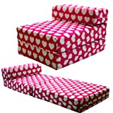 STANDARD CHAIRBED - Kids Single Chair Z bed Guest Childrens Futon (Pink Hearts)