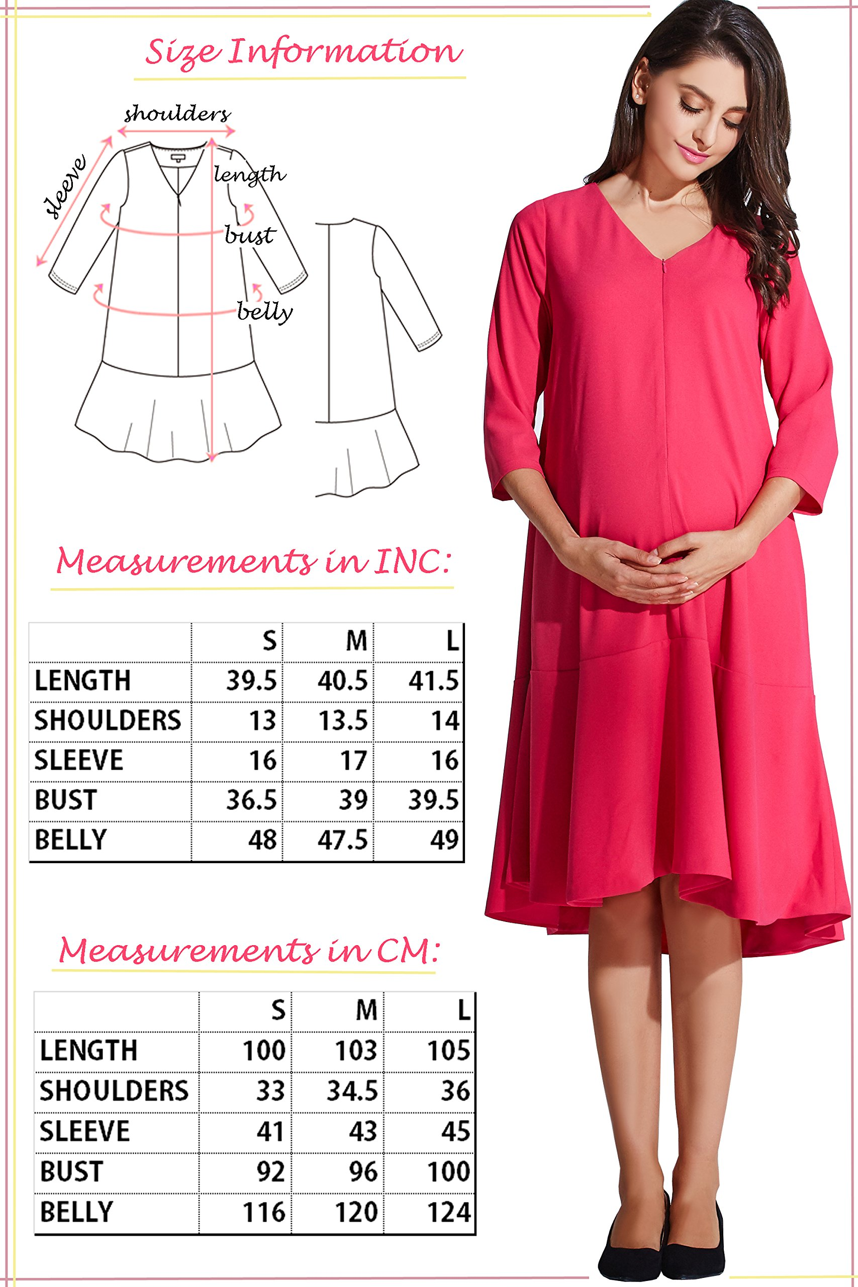 Sweet Mommy Maternity and Nursing Free Fit Baby Shower Dress Hot Pink, M by Sweet Mommy (Image #7)