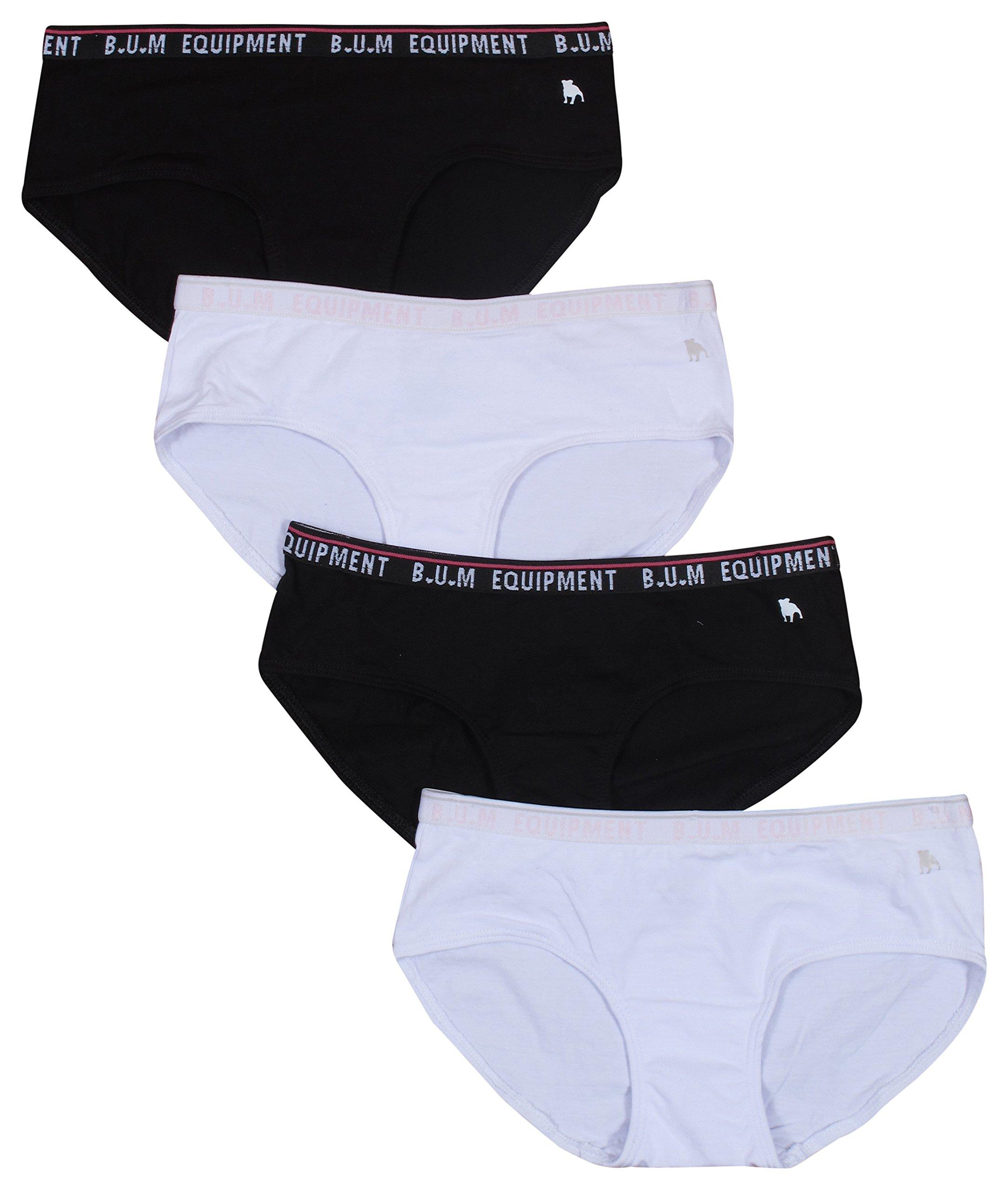 B.U.M. Equipment Girls 4 Pack Hipster Underwear, Black/ White, Medium - 7/8'