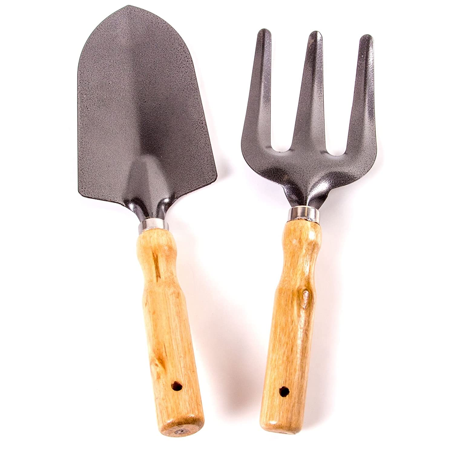 Heavy Duty Garden & Fork Trowel Set With Wooden Handles White Hinge