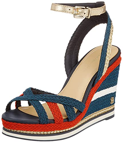 77305df86be Tommy Hilfiger Women's Corporate Wedge Sandal Sporty Espadrilles, Blue (RWB  020), 6.5