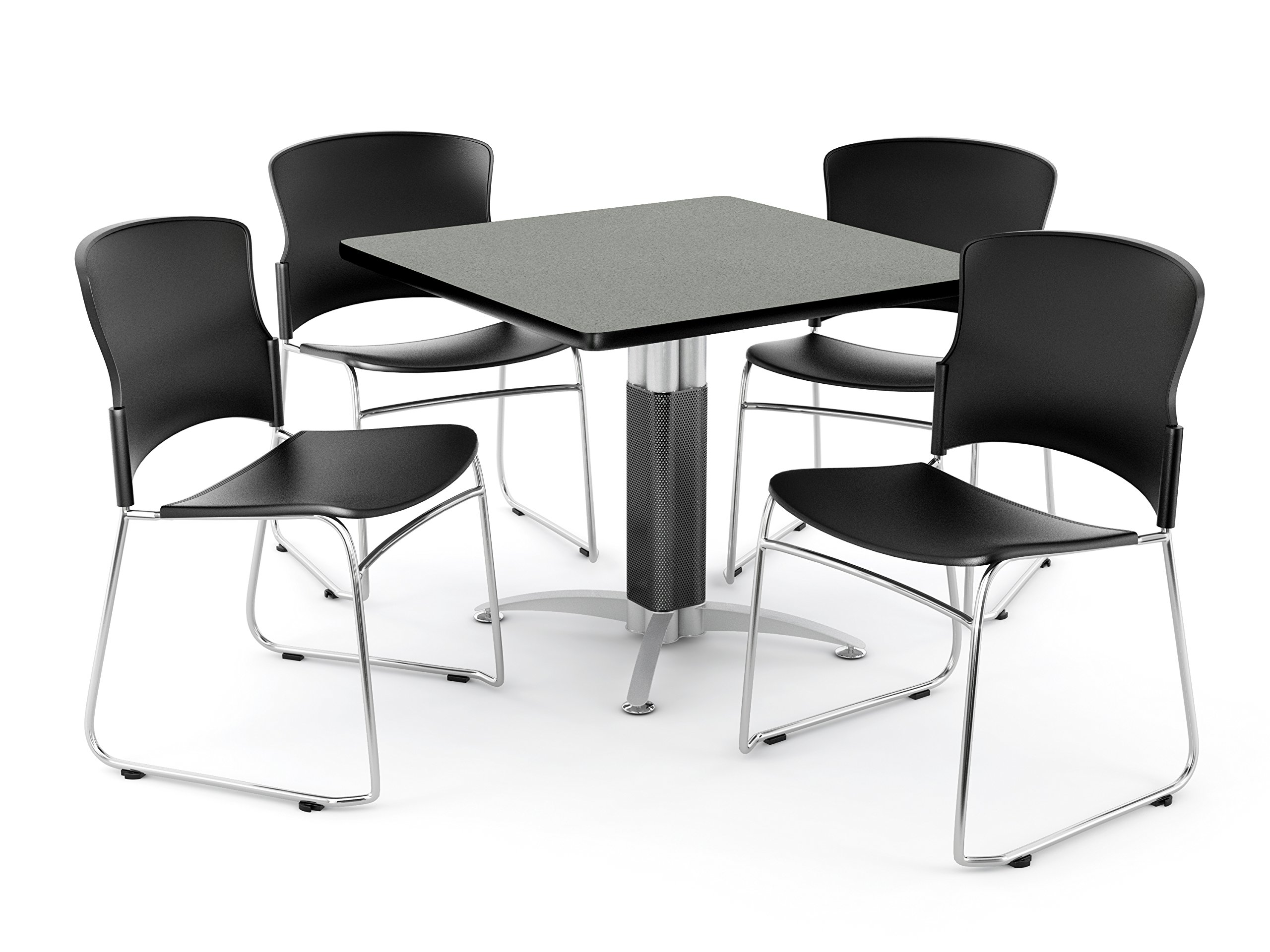 OFM Core Collection Breakroom Set, 36'' Square Metal Mesh Base Multi-Purpose Table in Gray Nebula, 4 Multi-use Plastic Stack Chairs in Black (PKG-BRK-028-0006)