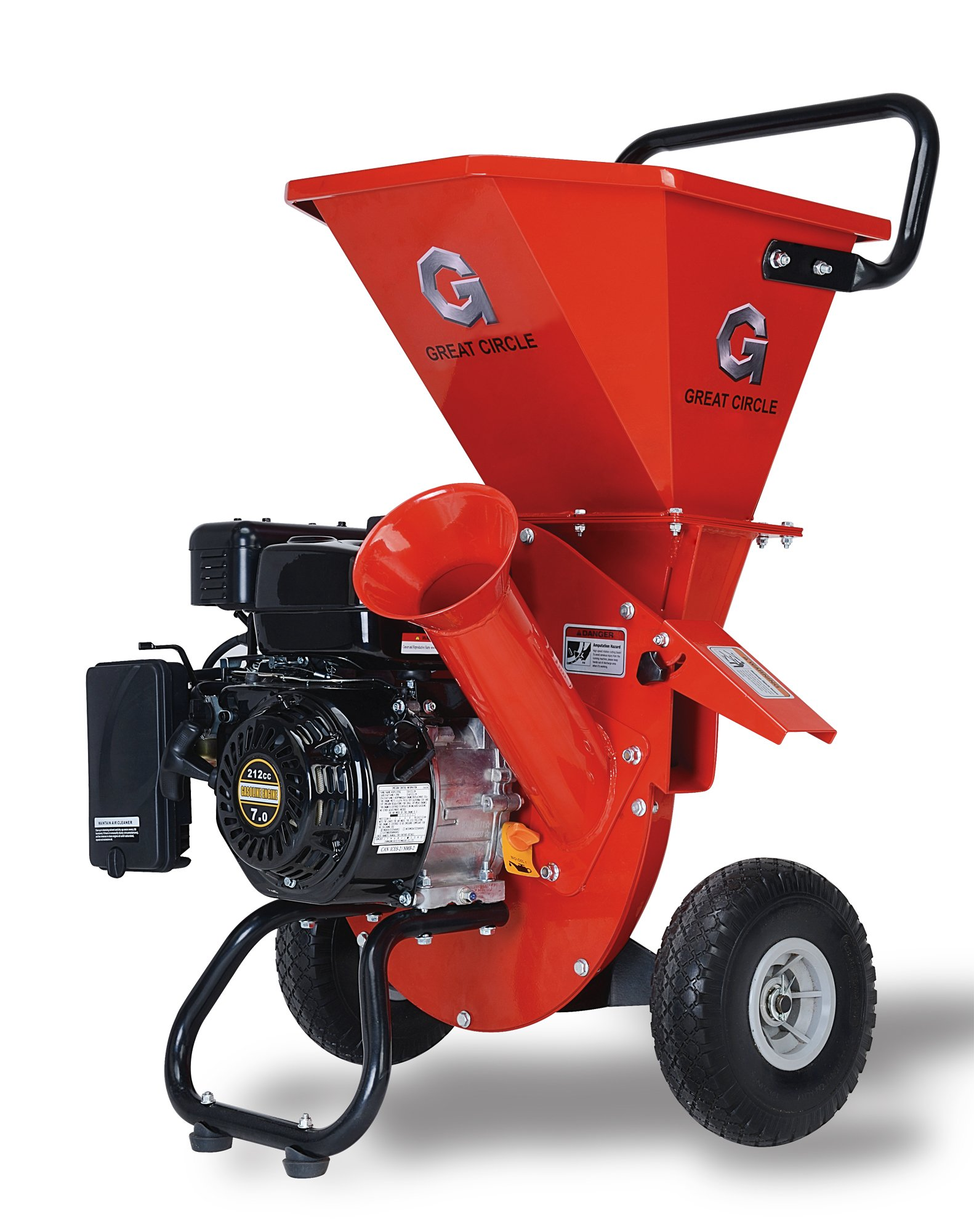 GreatCircleUSA 7HP Heavy Duty 212cc Gas Powered 3:1 capable Multi-Function Wood Chipper Shredder 3'' max Wood Diameter Capacity, 3 Years Warranty, CARB Certified, Ship to California(IMPROVED PACKAGING)