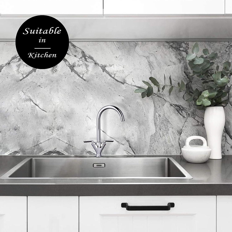Hapilife 10 Ans Garantie Robinet de Cuisine Levier Souple avec Orientable 360/° Pour Cuisine Blanc