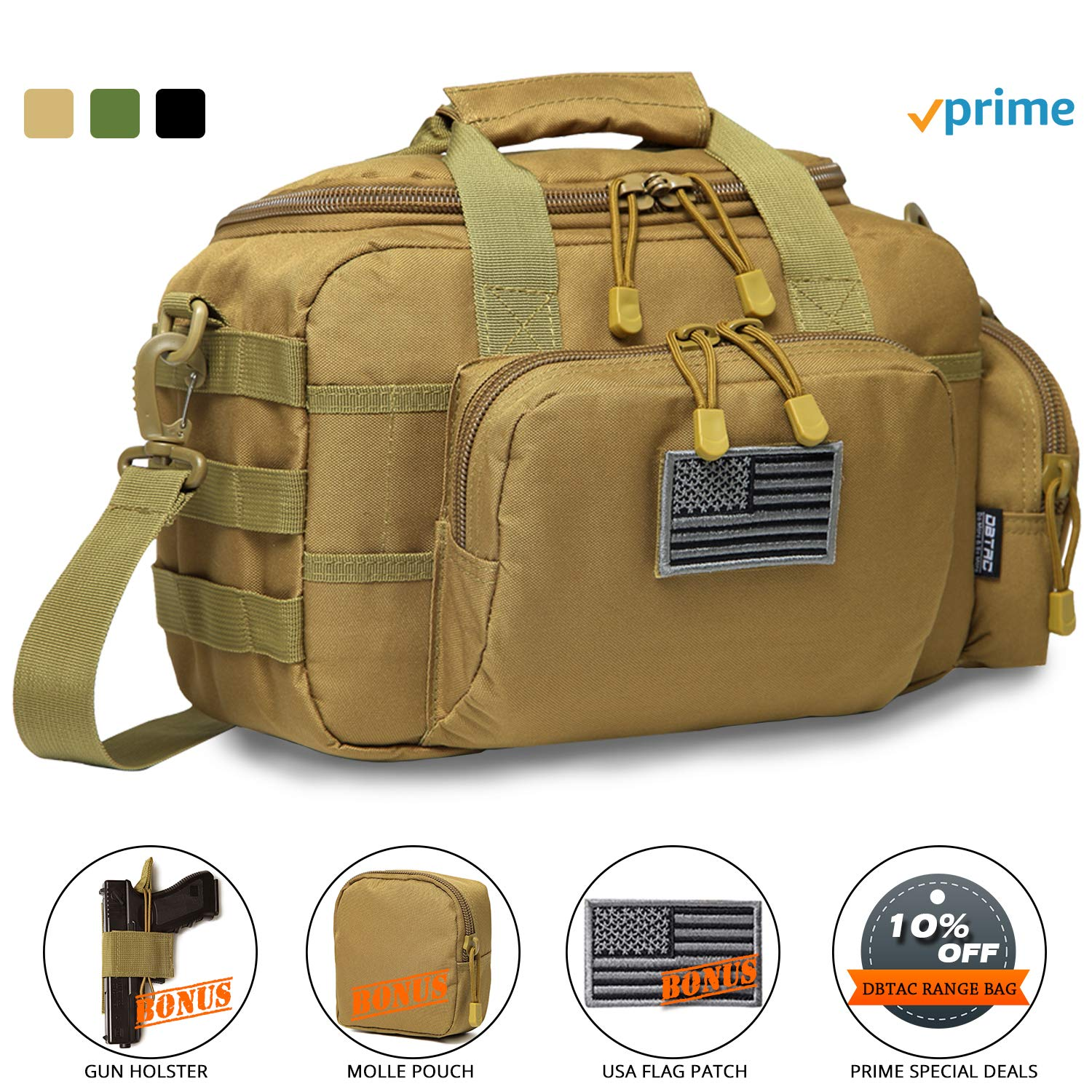 DBTAC Gun Range Bag Small | Tactical 2X Pistol Shooting Range Duffle Bag with Lockable Zipper for Handguns and Ammo | Free Molle Pouch, Hook-Fastener Gun Holster and US Flag Patch Included (Tan) by DBTAC