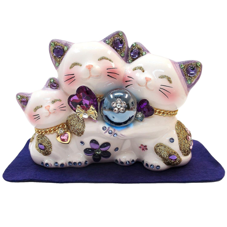 招き猫 【顔がかわいい】 風水ハッピーキャット親子 W-C-224 (パープル) B01CJMEK2Uパープル