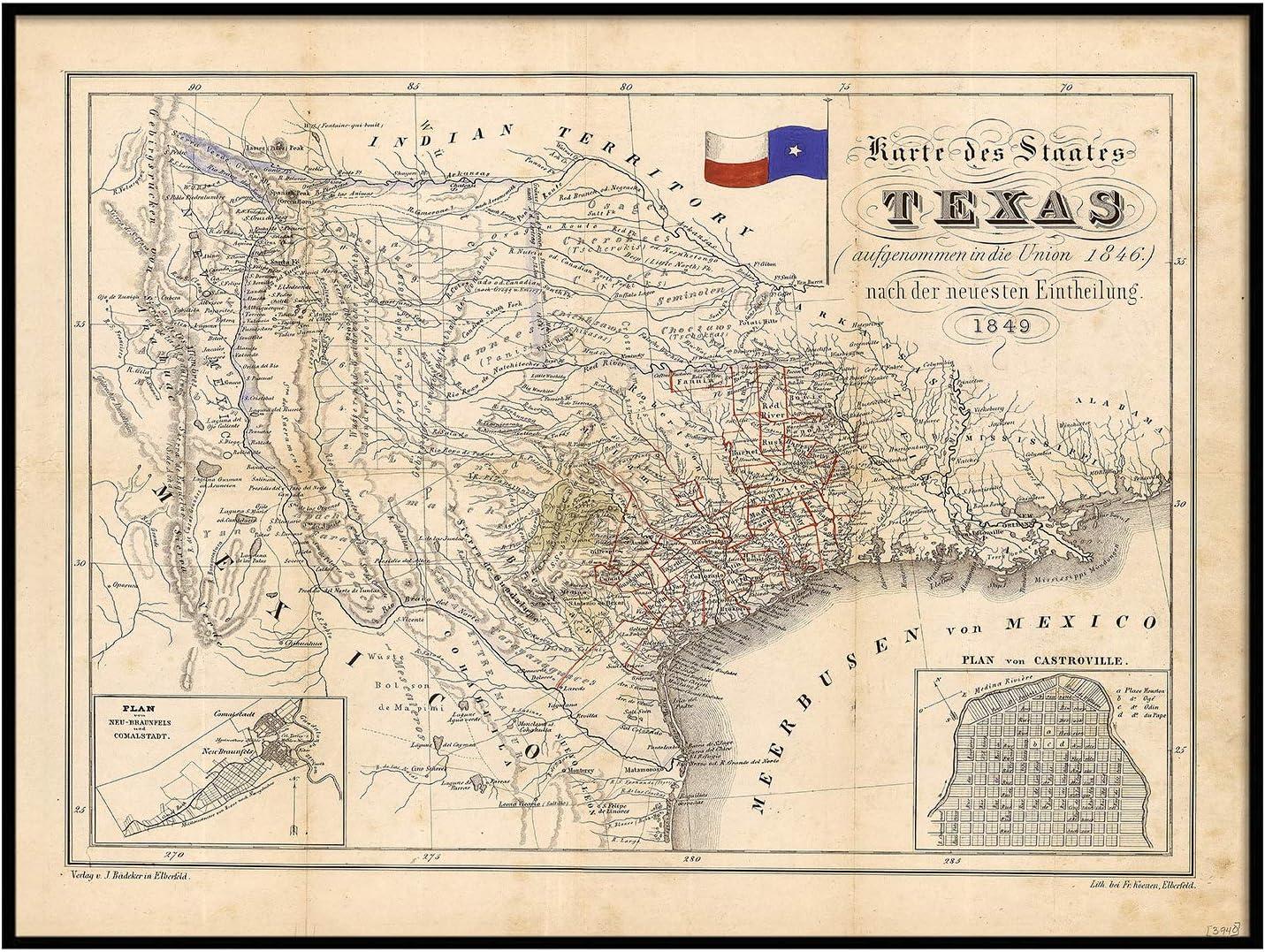 1849 Map of Texas Old Texas Map, Texas, Map of Texas, Vintage Map, Restoration Decorator Style Texas Wall Art German Map of Texas