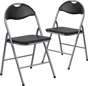 Flash Furniture 2 Pk. HERCULES Series Black Vinyl Metal Folding Chair with Carrying Handle