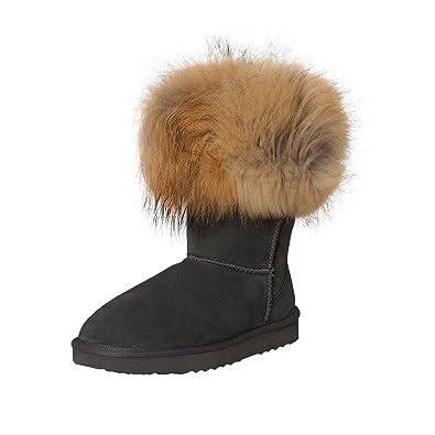 7473d337892a SKUTARI Damen Boots Fox Indian Schlupfstiefel Warm Gefüttert  Wildleder-Stiefel, Grau, Größe 37